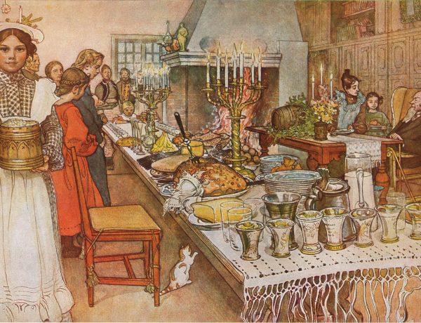 «Julaftonen», av Carl Larsson. Julebord i Sverige: 1904.